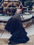 Sweetheart Long A-line Black Tulle Rhinestone Beaded Prom Dresses, PD0932