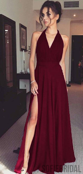 Halter Side Slit Long A-line Jersey Prom Dresses, PD0895