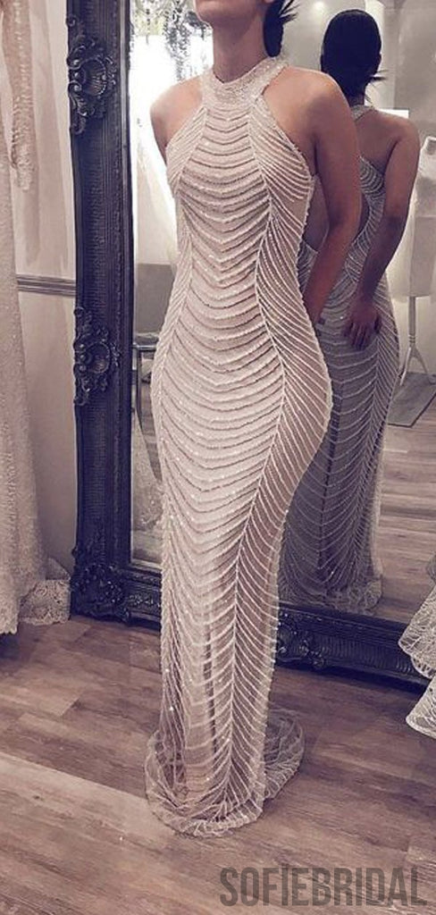 Long A-line Silver Beaded Mermaid Luxury Prom Dresses, PD0919