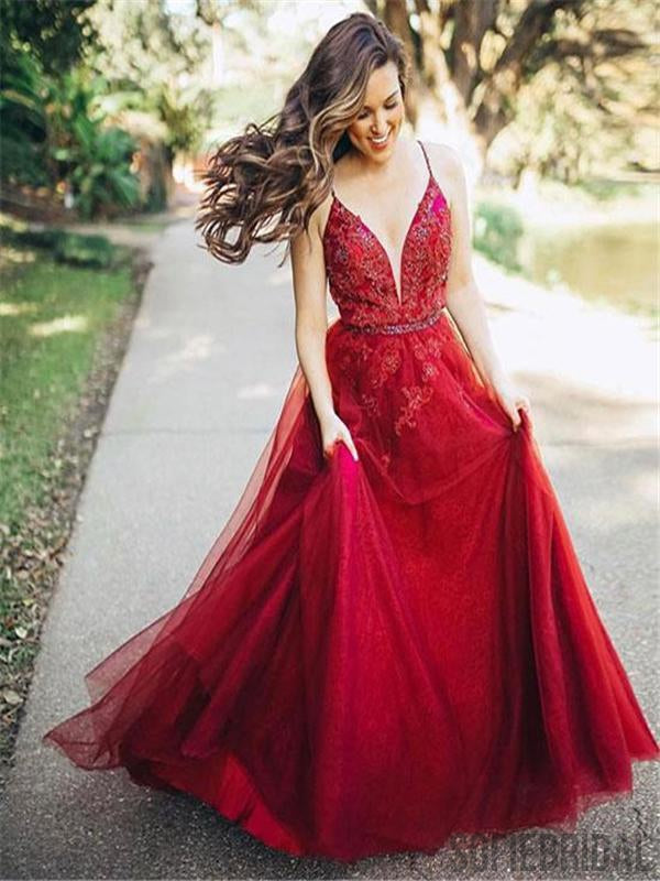 Spaghetti Red Lace Beaded Prom Dresses, Tulle Prom Dresses, Popular Prom Dresses, Prom Dresses, PD0593