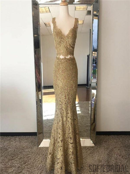 2 Pieces Prom Dresses, Lace Prom Dresses, Mermaid Prom Dresses, Popular Prom Dresses, PD0697