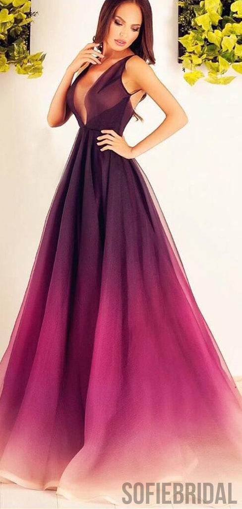 V-neck Long A-line Gradient Unique Cheap Prom Dresses, PD0823