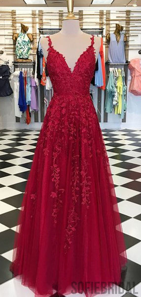 Red Appliques Lace Long A-line Tulle Prom Dresses, PD0791