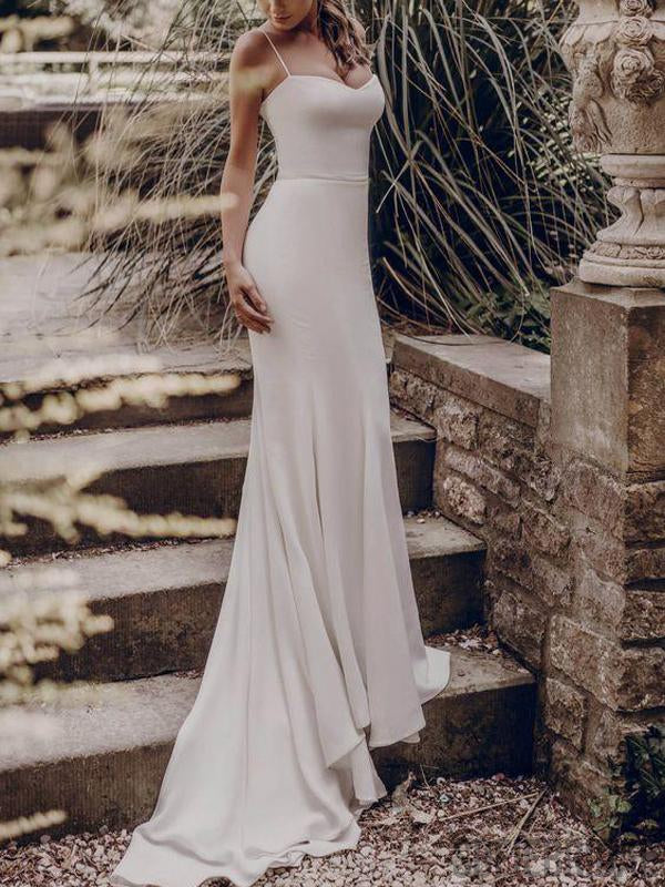 Spaghetti Prom Dresses, Mermaid Long Bridesmaid Dresses, Ivory Prom Dresses, PD0726