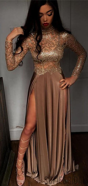 High Neck Long Sleeves Coffee Long Side Slit Prom Dresses, PD0795