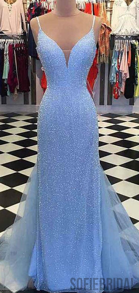 Spaghetti Long Sheath Sequin Tulle Prom Dresses, PD0952