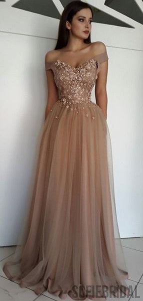 Long Prom Dresses, Beaded Prom Dresses, Off Shoulder Cheap Prom Dresses, PD0740