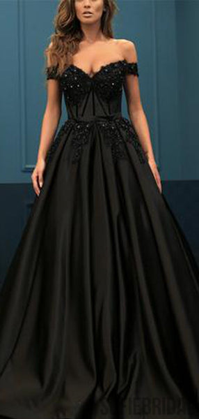 Off Shoulder Long A-line Black Satin Lace Beaded Prom Dresses, PD0977