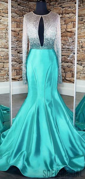 Long Sleeves Beaded Sexy Mermaid Satin Prom Dresses, PD0798