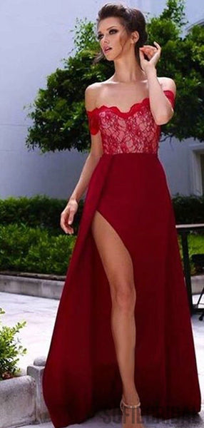 Off Shoulder Red Lace Side Slit Long A-line Prom Dresses, PD0824