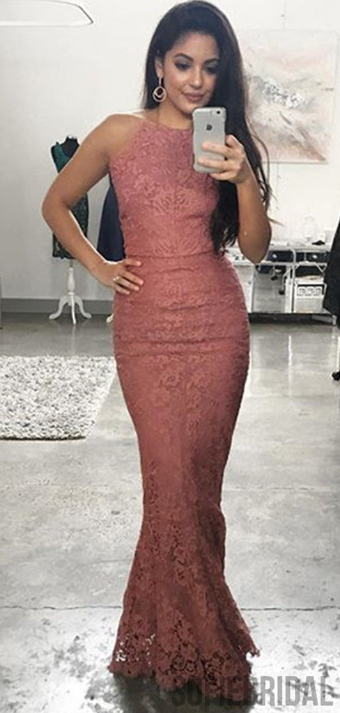 Halter Long Mermaid Lace Dusty Pink Prom Dresses, PD0924
