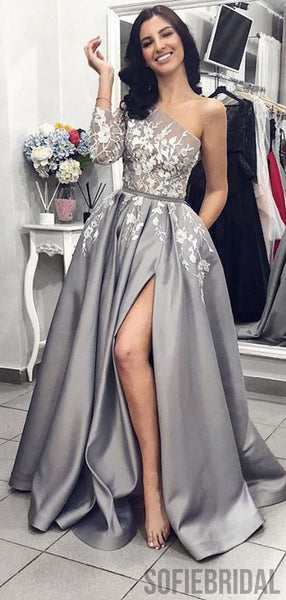 One Sleeve Long A-line Satin Lace Prom Dresses, Side Slit Prom Dresses, PD0818