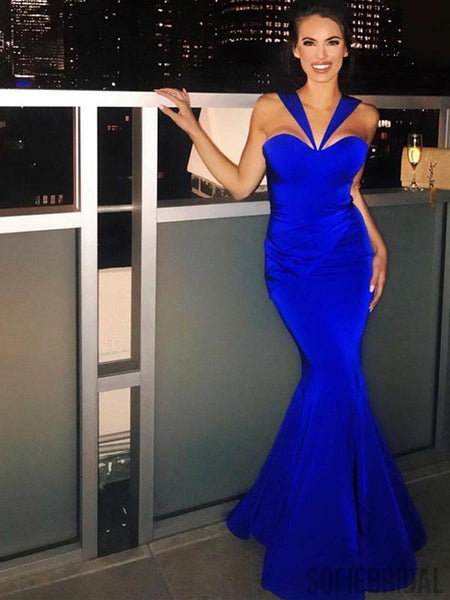 Simple Design Long Mermaid Royal Blue Prom Dresses, PD0938