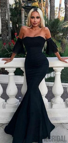 Strapless Long Mermaid Black Sexy Prom Dresses, PD0950