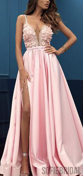 Pink Spaghetti Long A-line Satin Lace Prom Dresses, PD0983