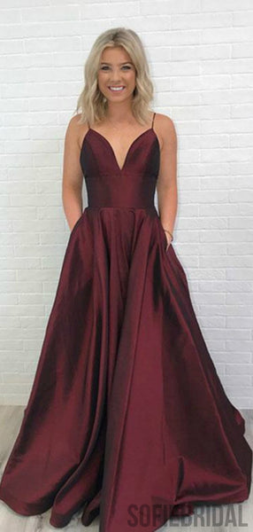 Simple V-neck Long A-line Prom Dresses, Cheap Prom Dresses, PD0757