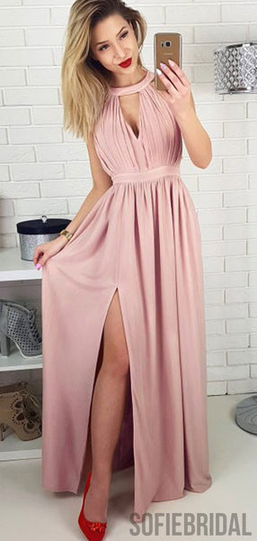 Dusty Pink Long A-line Side Slit Prom Dresses Bridesmaid Dresses, PD0829