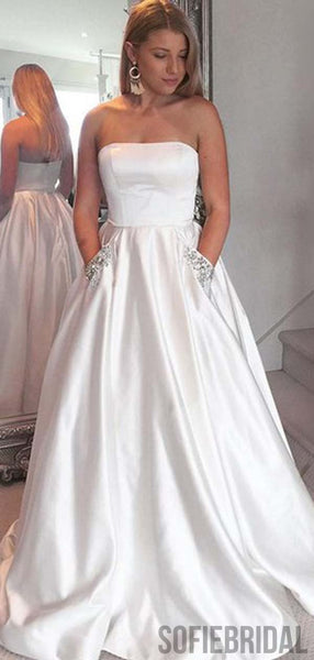 Strapless White Satin Long A-line Prom Dresses, Simple Prom Dresses , PD0778