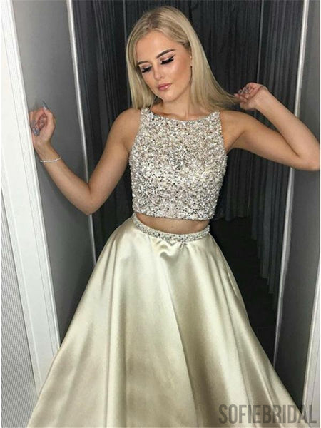 2 Pieces Prom Dresses, Beaded Prom Dresses, Satin Prom Dresses, Cheap Prom Dresses, PD0606