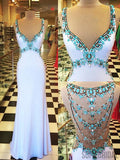 Gorgeous Rhinestone Beaded Long Mermaid Jersey Prom Dresses, PD0815