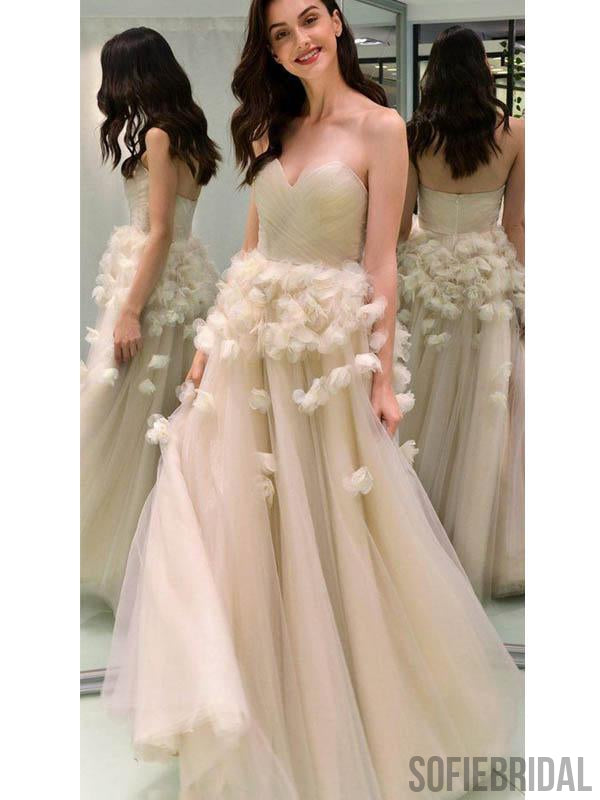 Sweetheart Long A-line Tulle Floral Prom Dresses/Wedding Dresses, PD0805