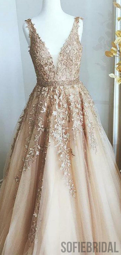 V-neck Long A-line Tulle Lace Beaded Prom Dresses, PD0961
