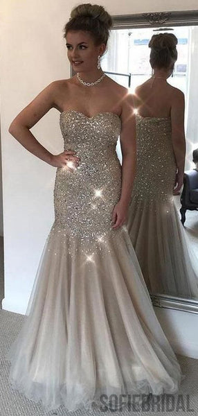 Sweetheart Long Mermaid Rhinestone Beaded Prom Dresses, PD0867