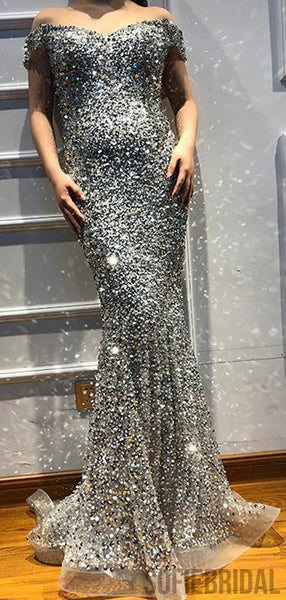 Off Shoulder Rhinestone Beaded Long Mermaid Silver Prom Dresses, PD0962