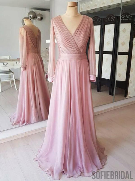 V-neck Long Sleeves Pink Chiffon Prom/Bridesmaid Dresses, PD0894
