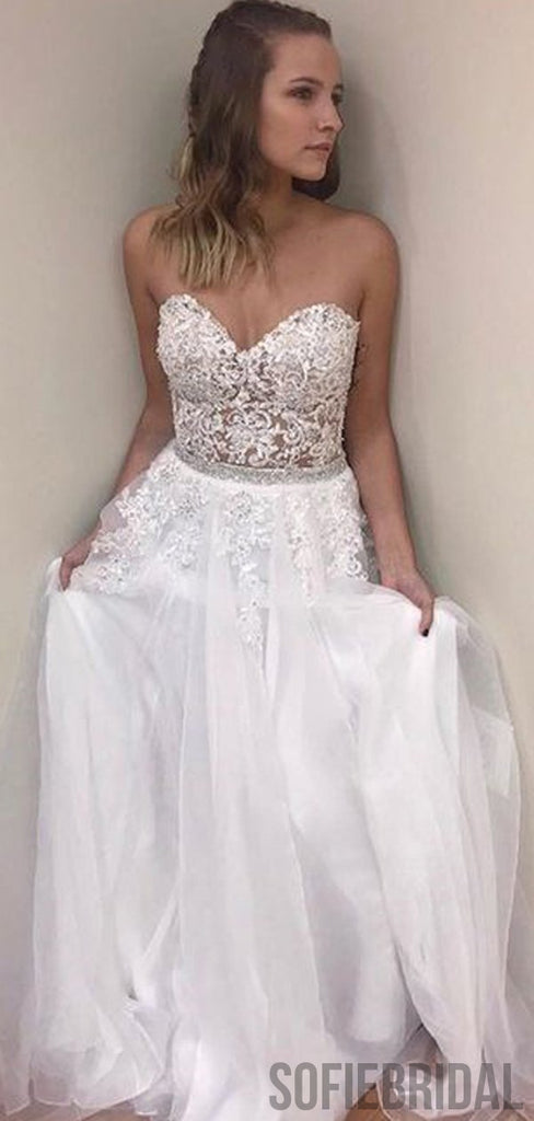 Sweetheart Long A-line Tulle Lace Prom Dresses, PD0907