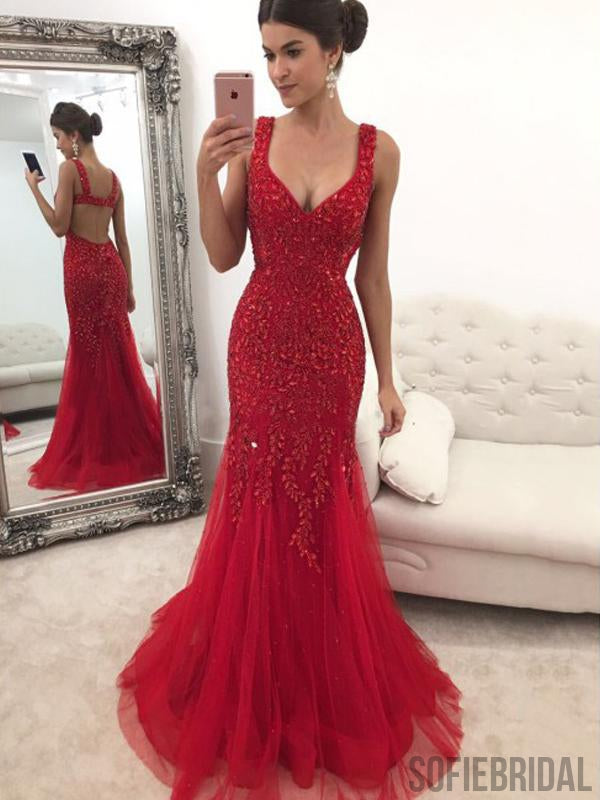 Red Rhinestone Long Mermaid Gorgeous Prom Dresses, PD0832