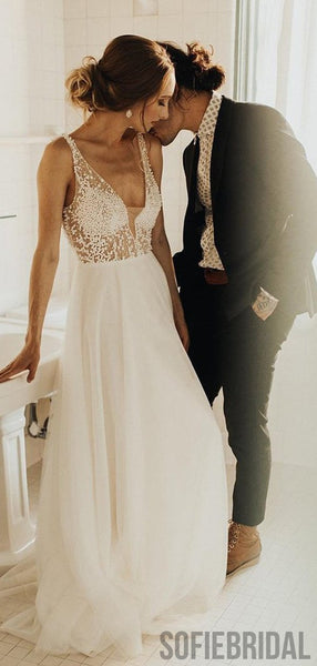 V-neck Beaded Long A-line Gorgeous Wedding Dresses, WD0280