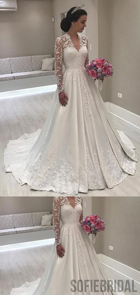 V-neck Long Sleeves Lace Satin Prom Dresses, WD0277