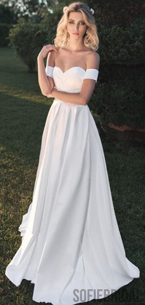 Off Shoulder Long A-line Satin Simple Wedding Dresses, WD0302