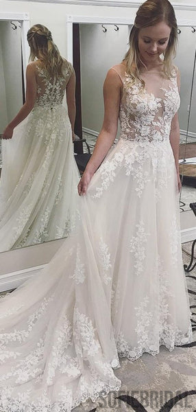 See Through Lace Appliques Long A-line Wedding Dresses, WD0281