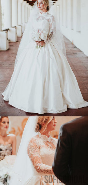 High Neck Long Sleeves Lace Satin Wedding Dresses, WD0288