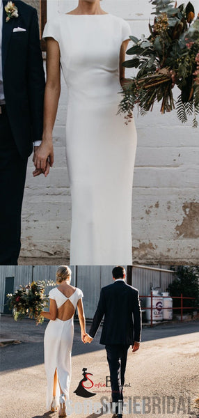 Cap Sleeve Modern Wedding Stretchy Long Sheath Wedding Dresses, WD0273
