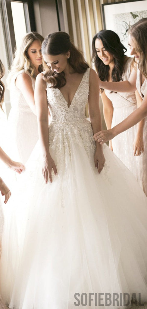 V-neck Long A-line Tulle Lace Wedding Dresses With Pearls, WD0300