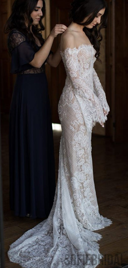 Long Sleeves Lace Mermaid Sexy Wedding Dresses, WD0290