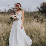 V-neck Lace Chiffon Chic Open Back With Lace Belt Affordable Wedding Dresses, WD0231