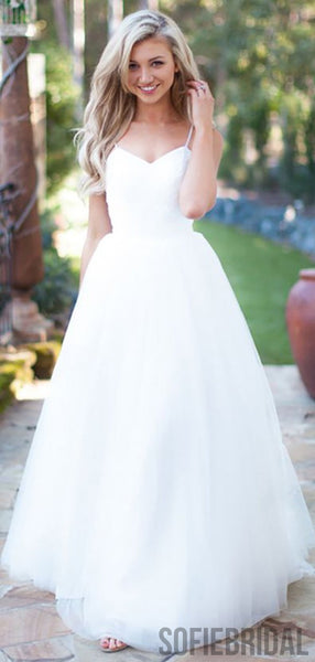 Simple Elegant Long A-line Ivory Tulle Wedding Dresses, WD0295