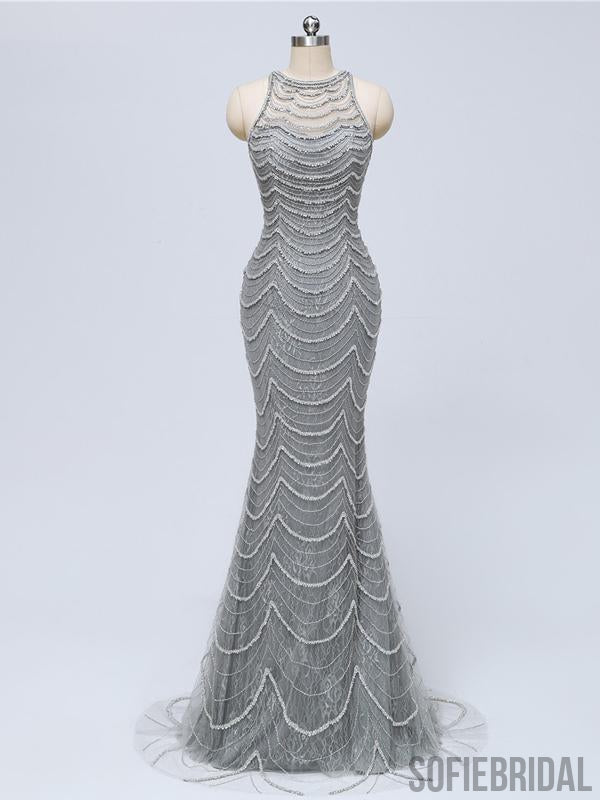 Long Mermaid Gray Beaded Sexy Luxury Prom Dresses, PD0920