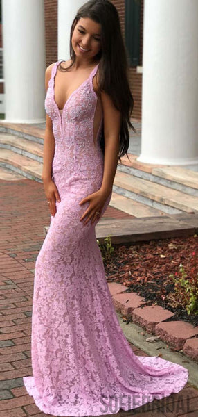 V-neck Lace Beaded Long Mermaid Prom Dresses, Cheap Prom Dresses, PD0772