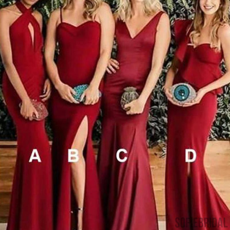 Mismatched Bridesmaid Dresses, Red Bridesmaid Dresses, Cheap Bridesmaid Dresses, PD0698