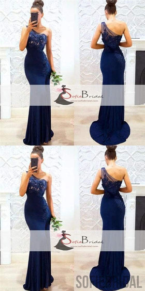 One Shoulder Navy Mermaid Bridesmaid Dresses, Lace bridesmaid Dresses, Long Bridesmaid Dresses, PD0501
