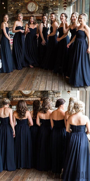 Sweetheart A-line Bridesmaid Dresses, Navy Bridesmaid Dresses, Long Bridesmaid Dresses, PD0389