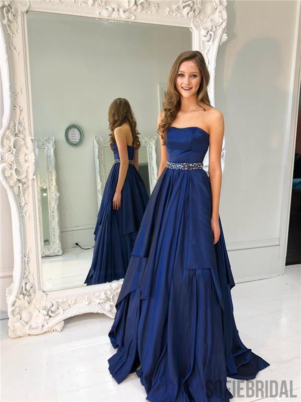 Sweetheart Prom Dresses, Beaded Prom Dresses, Navy Prom Dresses, Prom Dresses, PD0633