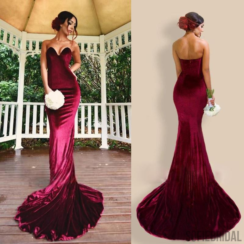 Sweetheart Velvet Long Mermaid Cheap Bridesmaid/Prom Dresses, PD0857