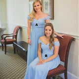 Mismatched Off Shoulder Bridesmaid Dresses, Light Blue Bridesmaid Dresses, Bridesmaid Dresses, WG159