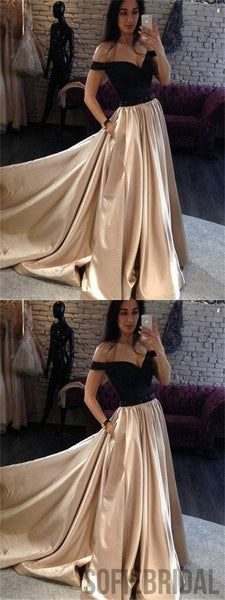 Off Shoulder A-line Prom Dresses, Satin Prom Dresses, Long Prom Dresses, Cheap Prom Dresses, PD0636